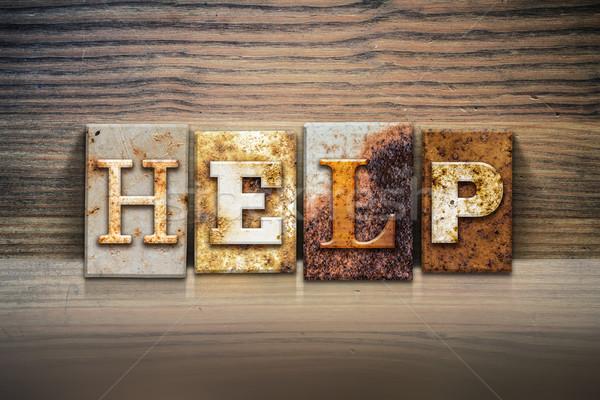 Stock fotó: Segítség · magasnyomás · szó · írott · rozsdás · fém