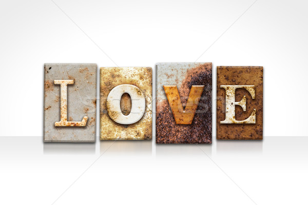 Love Letterpress Concept Isolated on White Stock photo © enterlinedesign