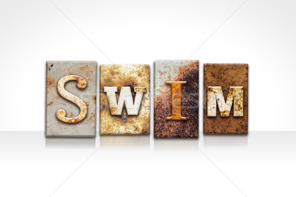 Swim Letterpress Concept Isolated on White Stock photo © enterlinedesign