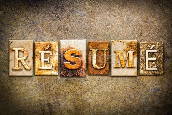 Resume Concept Letterpress Leather Theme Stock photo © enterlinedesign