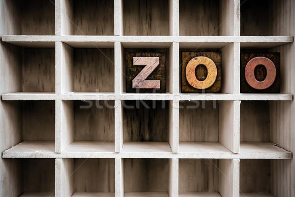 állatkert fából készült magasnyomás fiók szó Stock fotó © enterlinedesign