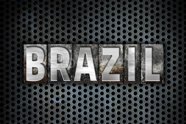 ブラジル 金属 タイプ 言葉 書かれた ストックフォト © enterlinedesign