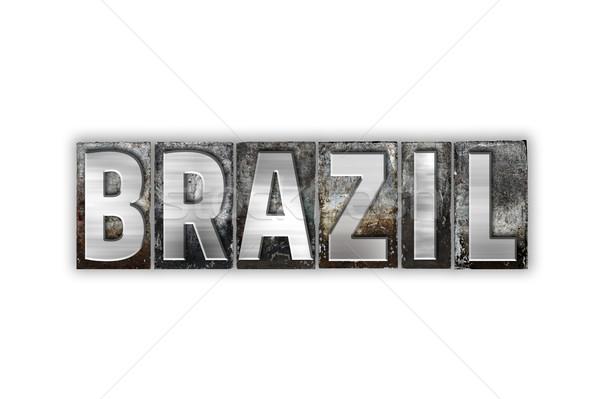 ブラジル 孤立した 金属 タイプ 言葉 ストックフォト © enterlinedesign