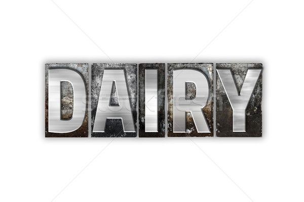 Dairy Concept Isolated Metal Letterpress Type Stock photo © enterlinedesign