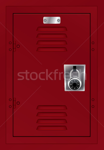 Red Locker and Combination Lock Illustration Stock photo © enterlinedesign