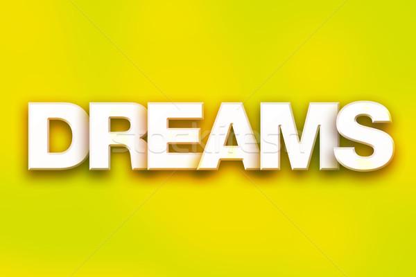 Dromen kleurrijk woord kunst geschreven witte Stockfoto © enterlinedesign