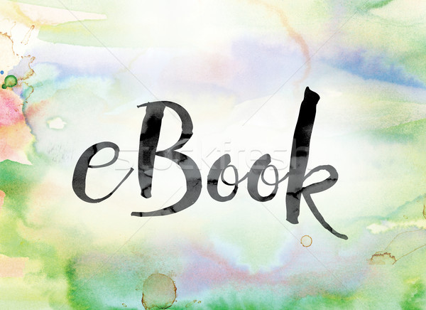 Ebook colorido aquarela nosso palavra arte Foto stock © enterlinedesign