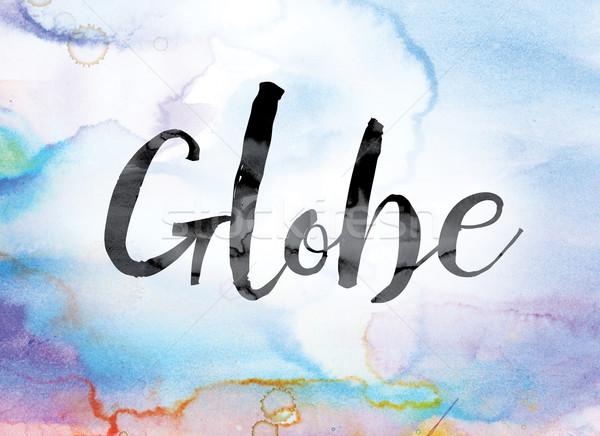 Wereldbol kleurrijk aquarel inkt woord kunst Stockfoto © enterlinedesign