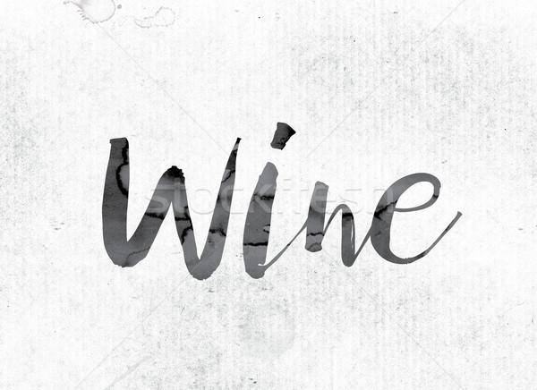 ストックフォト: ワイン · 描いた · インク · 言葉 · 水彩画 · 白
