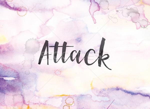 Aanval aquarel inkt schilderij woord geschreven Stockfoto © enterlinedesign