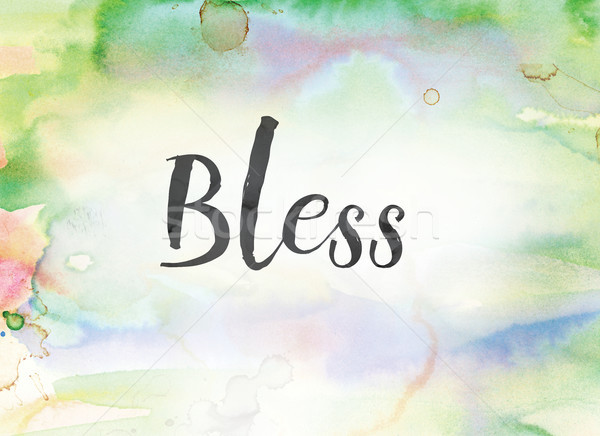 Bless Concept Watercolor and Ink Painting Stock photo © enterlinedesign