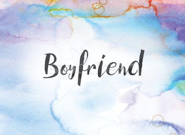 Boyfriend Concept Watercolor and Ink Painting Stock photo © enterlinedesign