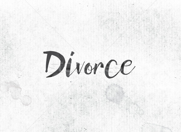 Divorcio pintado tinta palabra negro acuarela Foto stock © enterlinedesign