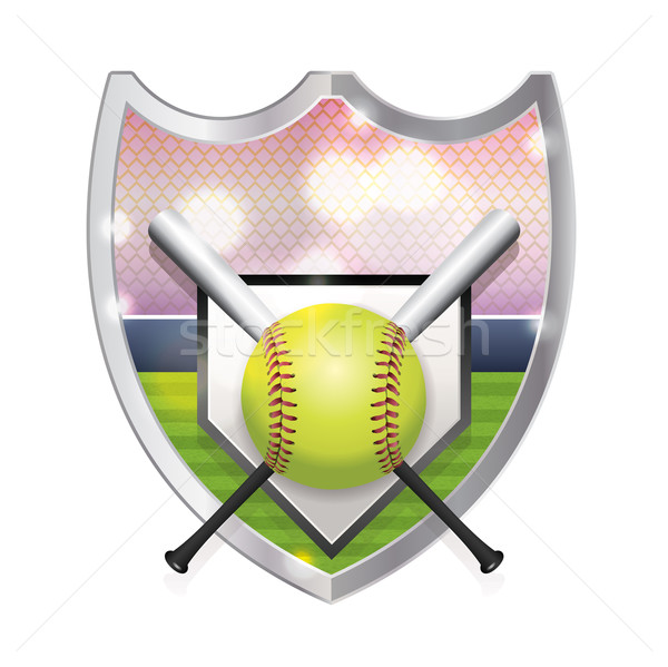 Softball emblema illustrazione home piatto campo Foto d'archivio © enterlinedesign