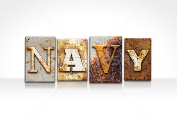 Navy Letterpress Concept Isolated on White Stock photo © enterlinedesign