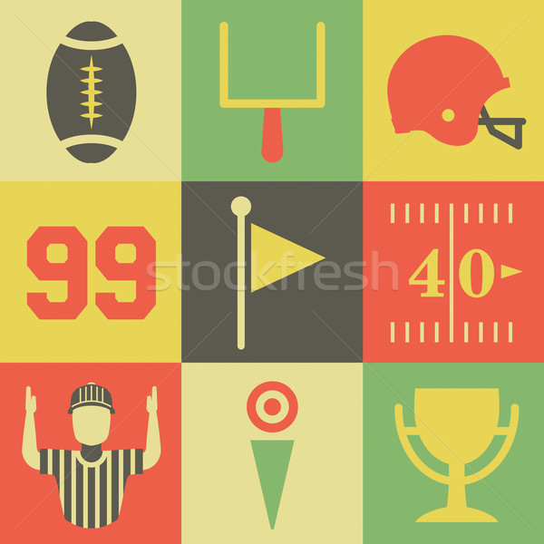 Vintage American Football Icons Stock photo © enterlinedesign