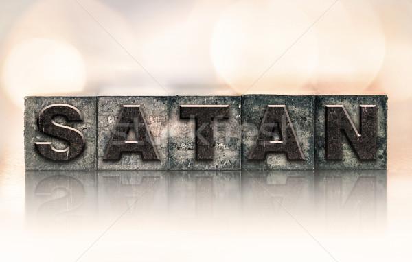 сатана Vintage тип слово написанный Сток-фото © enterlinedesign