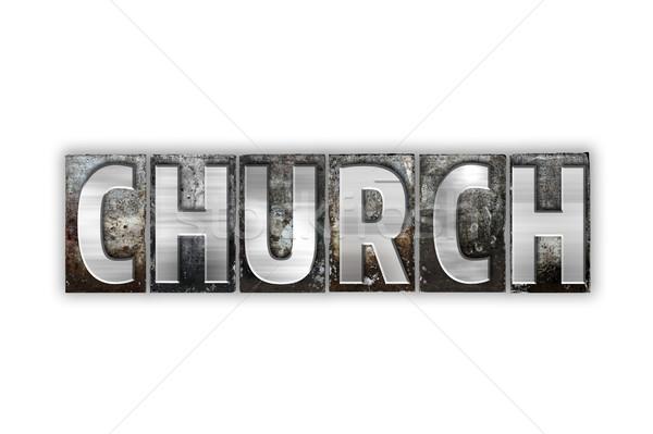 Chiesa isolato metal tipo parola Foto d'archivio © enterlinedesign