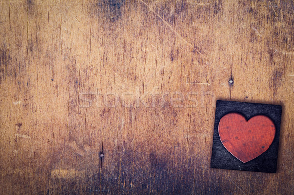 Single Heart Wooden Letterpress Type Stock photo © enterlinedesign