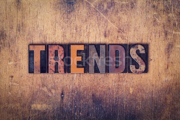 Tendencias tipo palabra escrito Foto stock © enterlinedesign