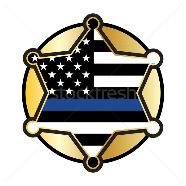Police Support Star and Flag Emblem Stock photo © enterlinedesign