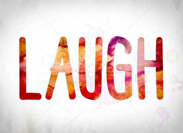 смеяться акварель слово искусства написанный белый Сток-фото © enterlinedesign