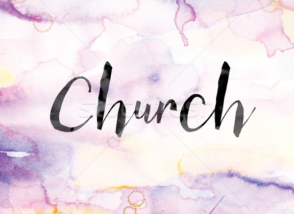 Church Colorful Watercolor and Ink Word Art Stock photo © enterlinedesign