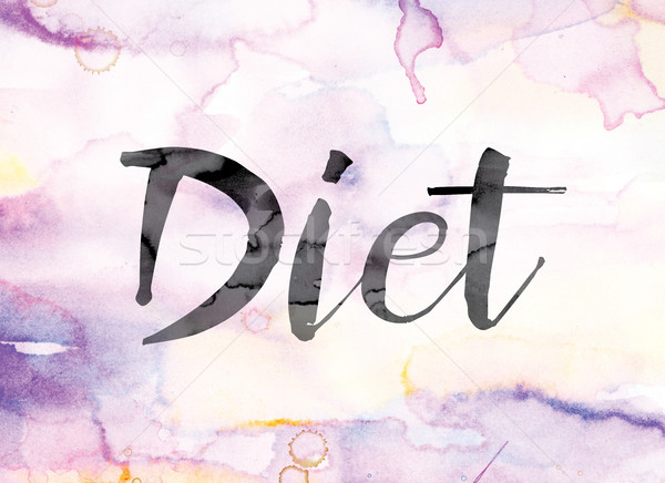 Diet Colorful Watercolor and Ink Word Art Stock photo © enterlinedesign