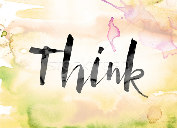 Think Colorful Watercolor and Ink Word Art Stock photo © enterlinedesign