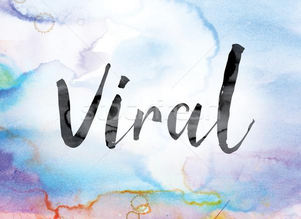 Virális színes vízfesték tinta szó művészet Stock fotó © enterlinedesign