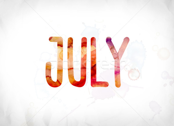 July Concept Painted Watercolor Word Art Stock photo © enterlinedesign