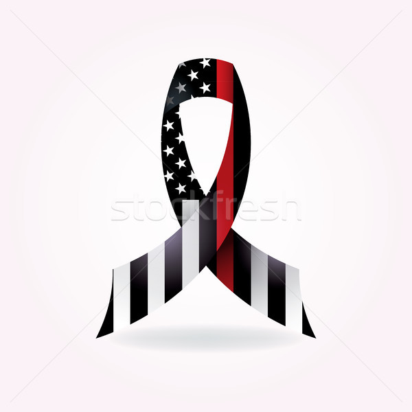 Bombeiro apoiar fita ilustração fino vermelho Foto stock © enterlinedesign