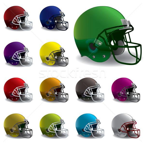 Amerikai futball sisakok illusztráció különböző színek Stock fotó © enterlinedesign