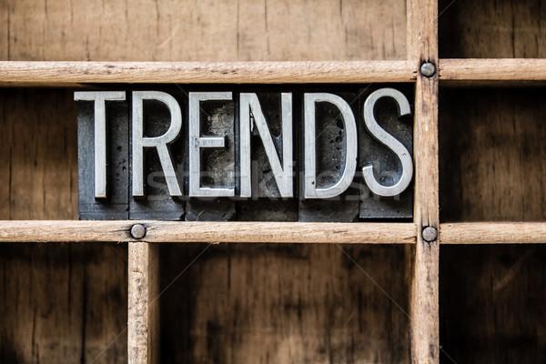Тенденции тип выдвижной ящик слово написанный Сток-фото © enterlinedesign