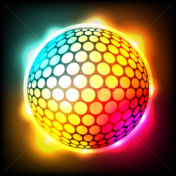 Glowing Colorful Golf Ball Dimpled Sphere Illustration Stock photo © enterlinedesign