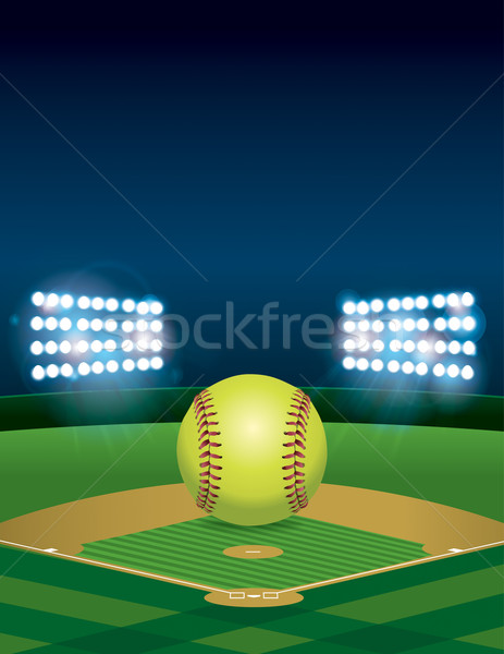 Softball on Softball Field Illustration Stock photo © enterlinedesign