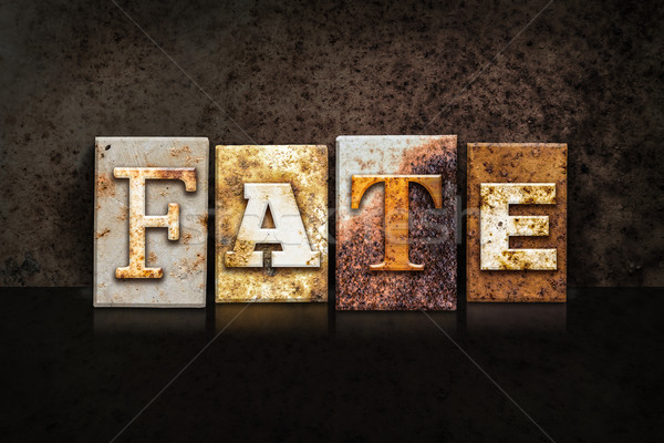 Fate Letterpress Concept on Dark Background Stock photo © enterlinedesign