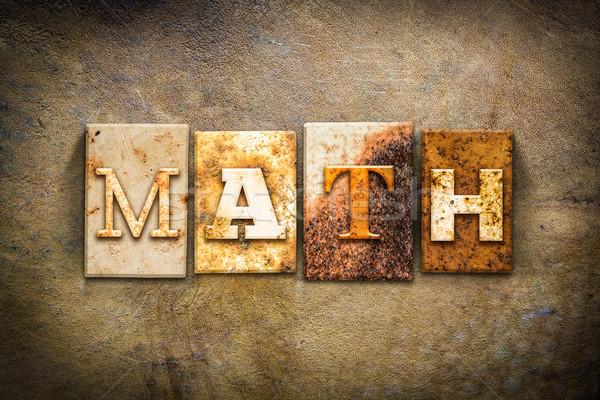 Math pelle parola scritto arrugginito Foto d'archivio © enterlinedesign
