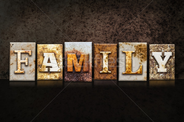 Family Letterpress Concept on Dark Background Stock photo © enterlinedesign