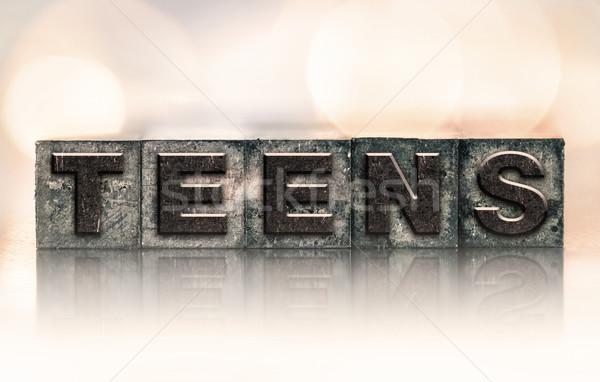 Adolescentes vintage tipo palabra escrito Foto stock © enterlinedesign