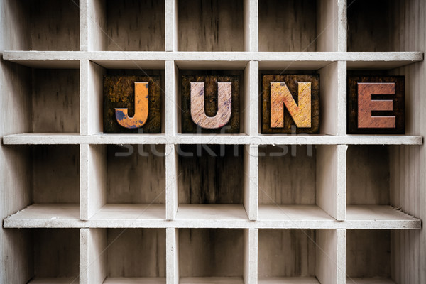 June Concept Wooden Letterpress Type in Drawer Stock photo © enterlinedesign