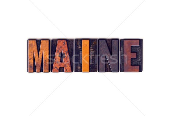 Maine geïsoleerd type woord geschreven Stockfoto © enterlinedesign