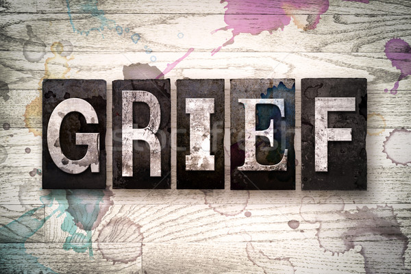 Grief Concept Metal Letterpress Type Stock photo © enterlinedesign