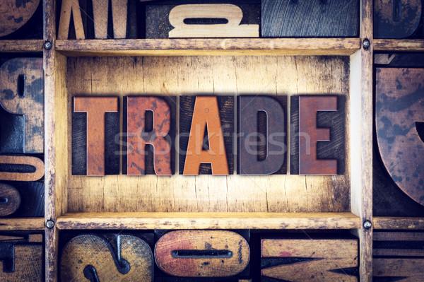 Ticaret tip kelime yazılı bağbozumu Stok fotoğraf © enterlinedesign