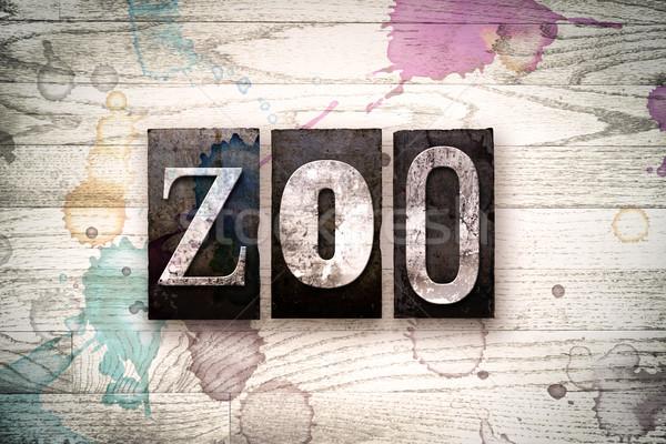 Zoo métal type mot écrit Photo stock © enterlinedesign