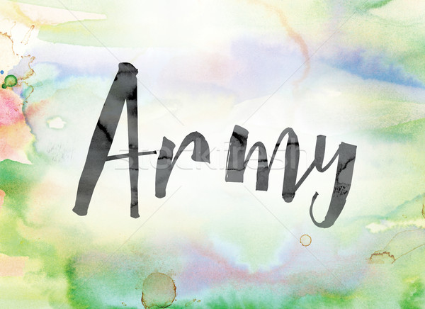 Ejército colorido acuarela tinta palabra arte Foto stock © enterlinedesign