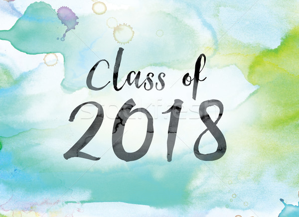 Class of 2018 Colorful Watercolor and Ink Word Art Stock photo © enterlinedesign