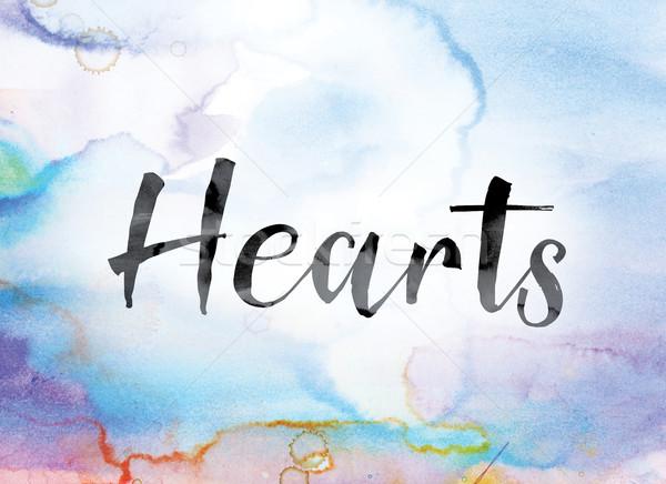 Kalpler renkli suluboya mürekkep kelime sanat Stok fotoğraf © enterlinedesign