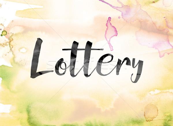 лотерея красочный акварель чернила слово искусства Сток-фото © enterlinedesign