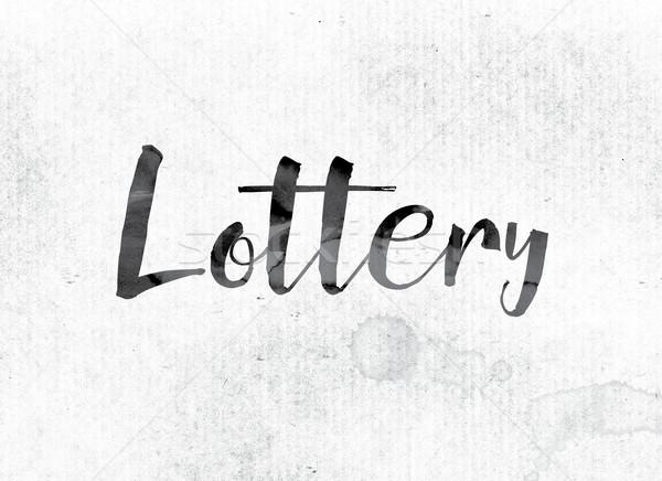 Lotteria verniciato inchiostro parola acquerello bianco Foto d'archivio © enterlinedesign